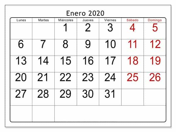 Calendario Enero 2019 Para Imprimir Gratis