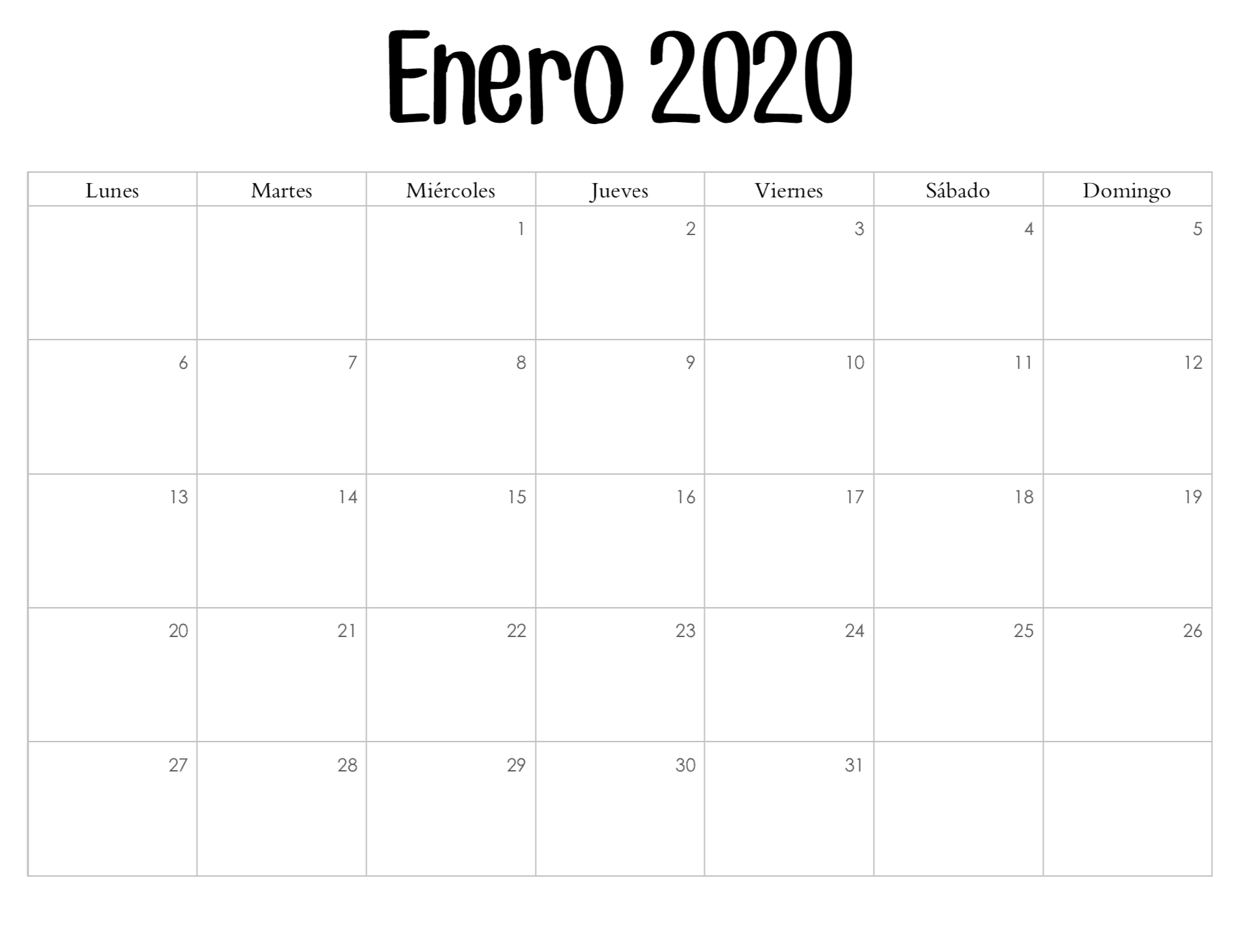 Calendario Enero 2020 Imprimir