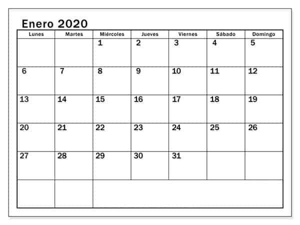 Calendario Enero 2020