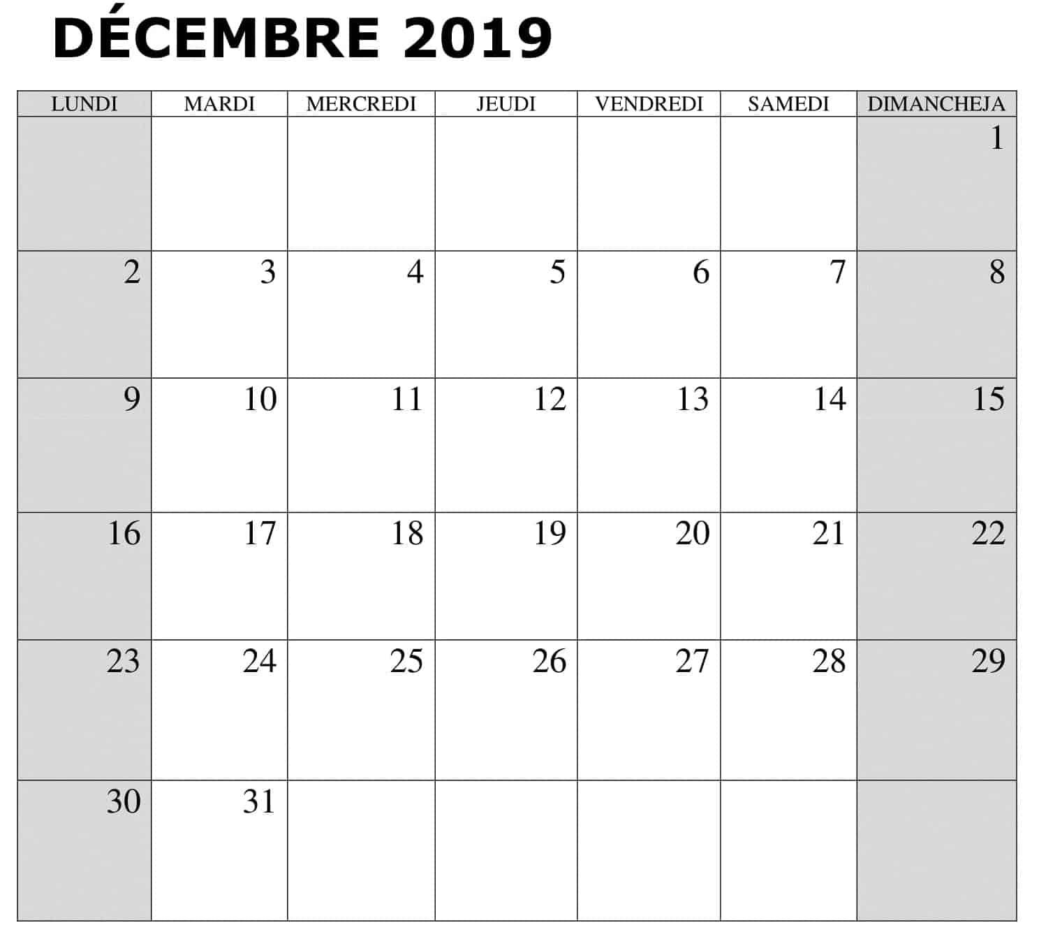 Calendrier Décembre 2019 PDF
