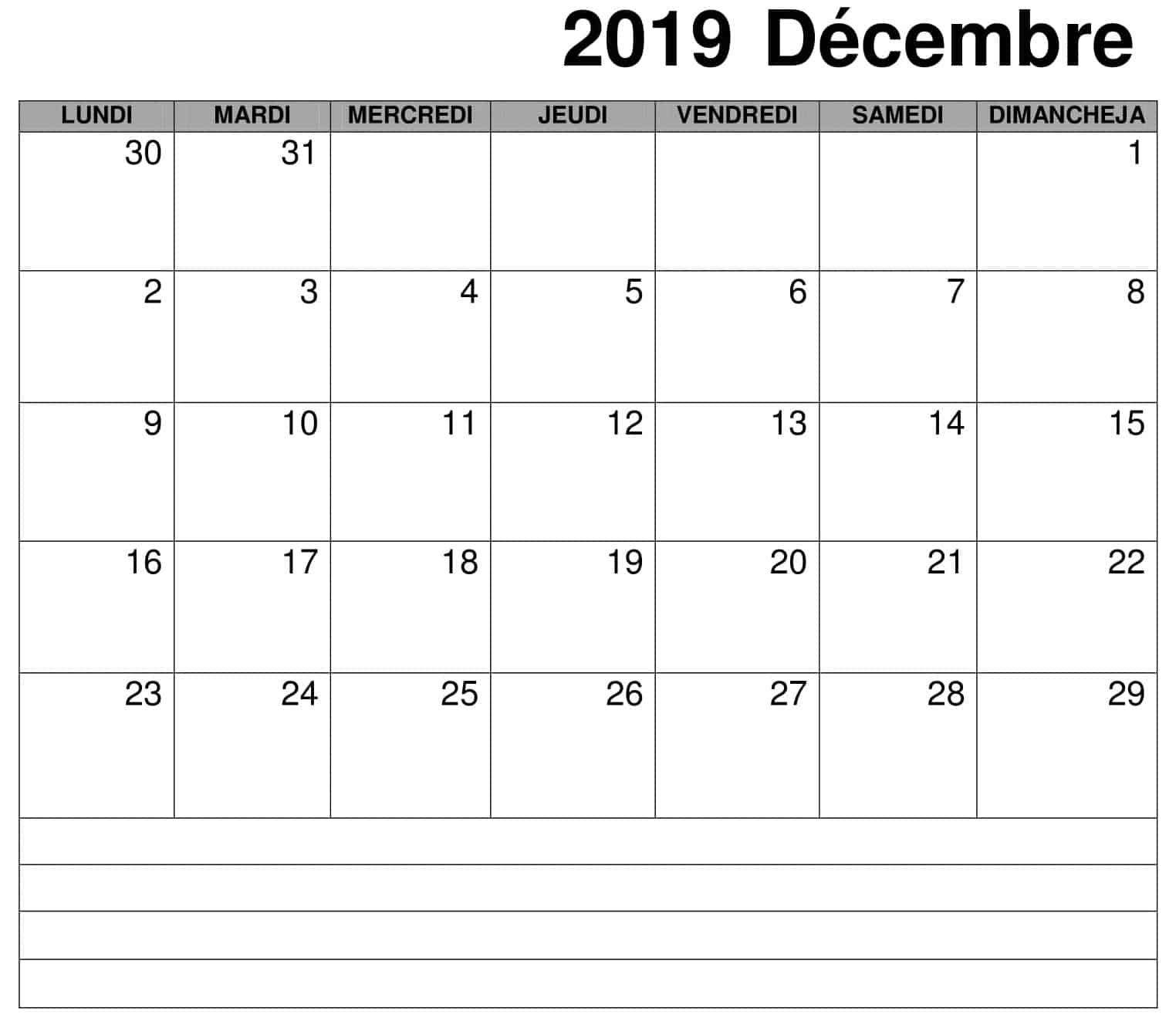 Calendrier Décembre 2019 À Imprimer