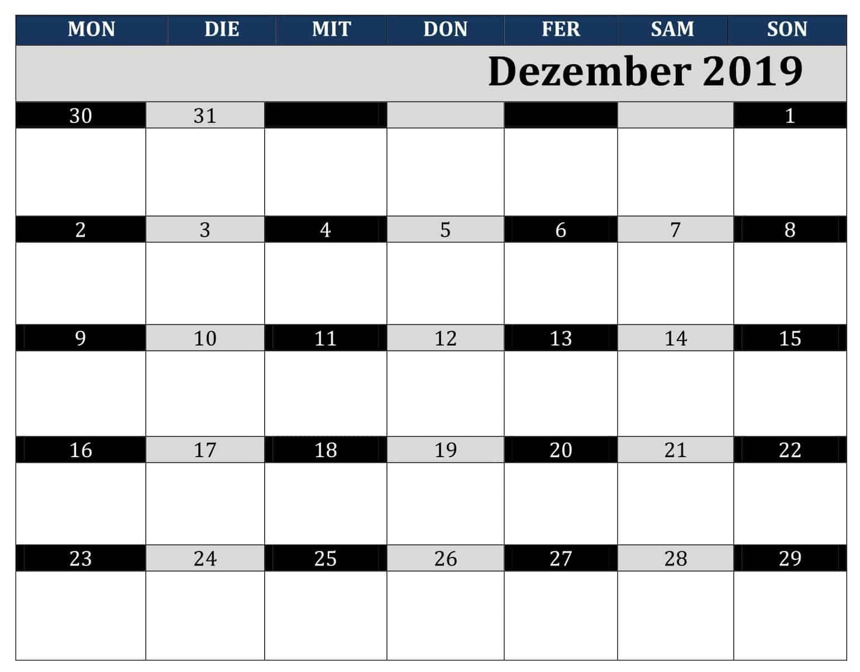 Kalender 2019 Dezember