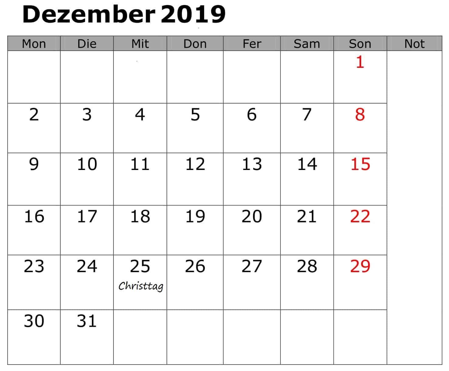 Kalender Dezember 2019 Mit Feiertagen