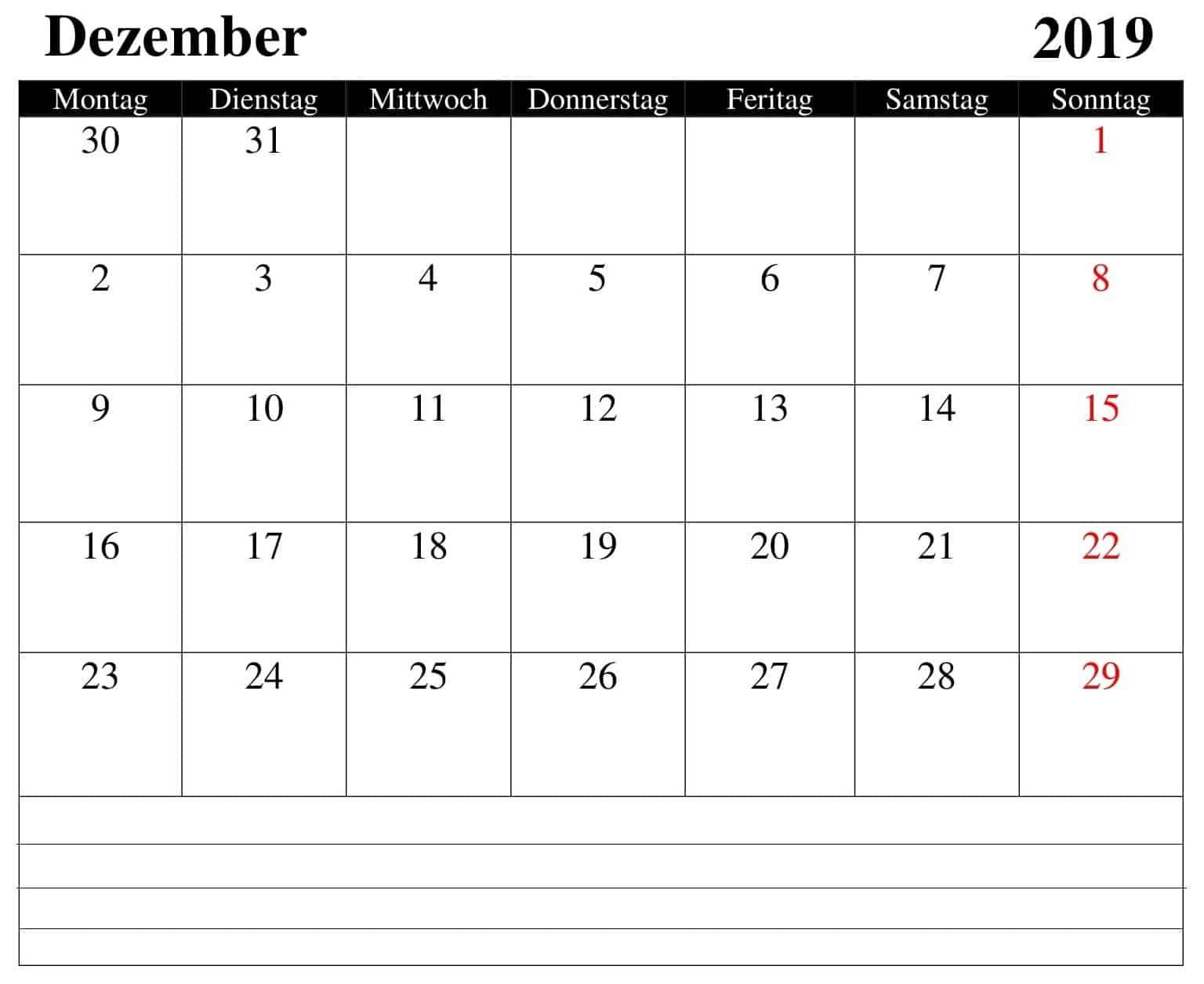 Kalender 2019 Dezember-