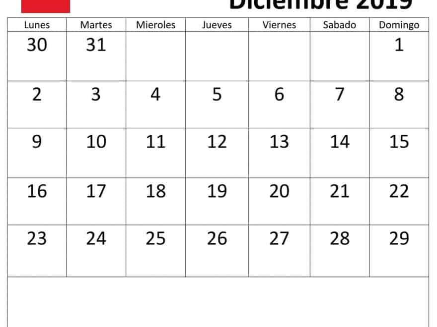 Calendario Diciembre.Grande Calendario Diciembre 2019 Con Festivos Nosovia Com