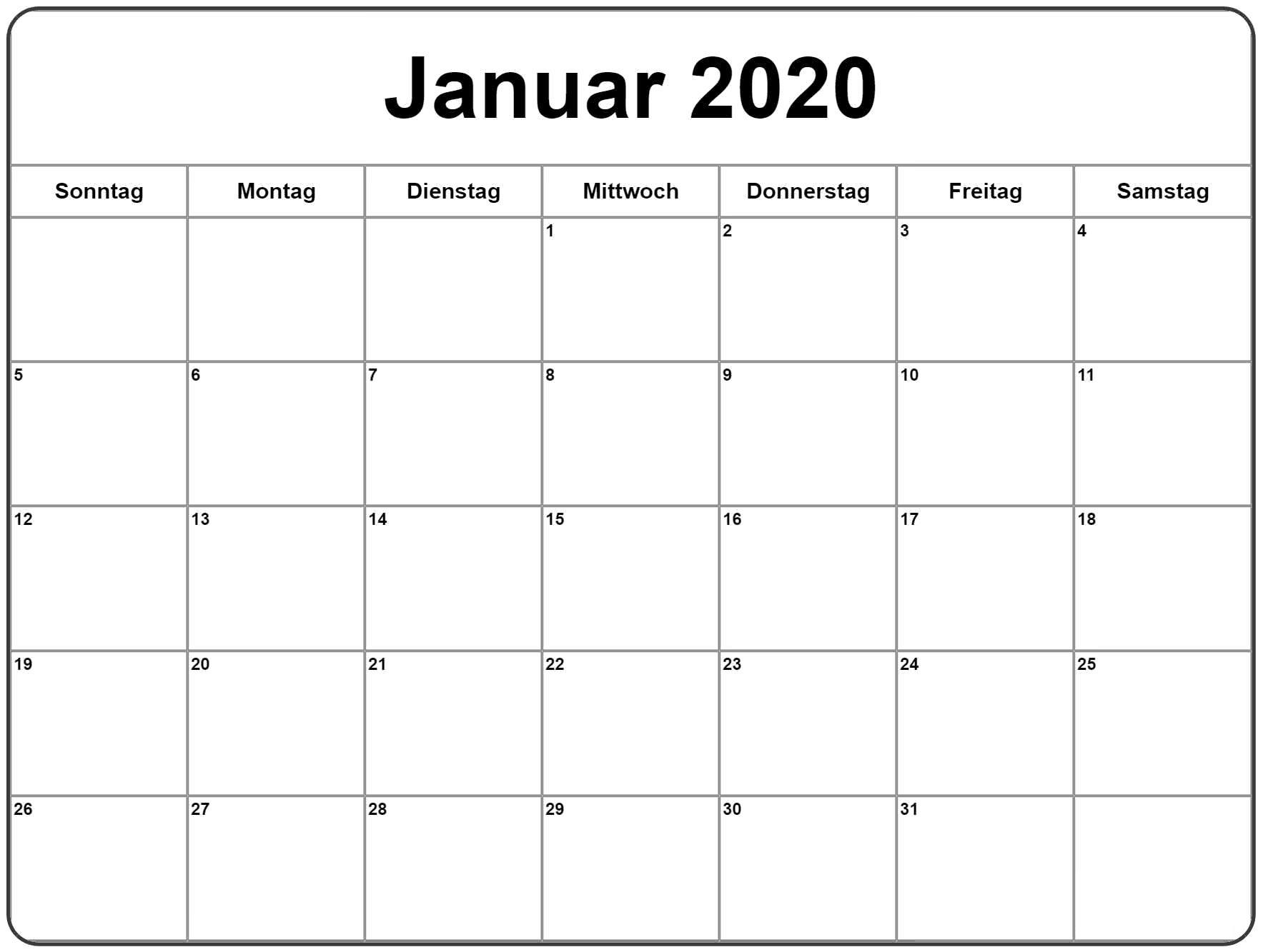 kalender januar 2019