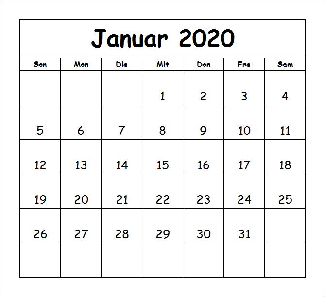 Kalender Januar 2019 Zum Ausdrucken