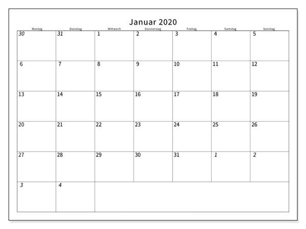 kalender januar 2020 zum ausdrucken