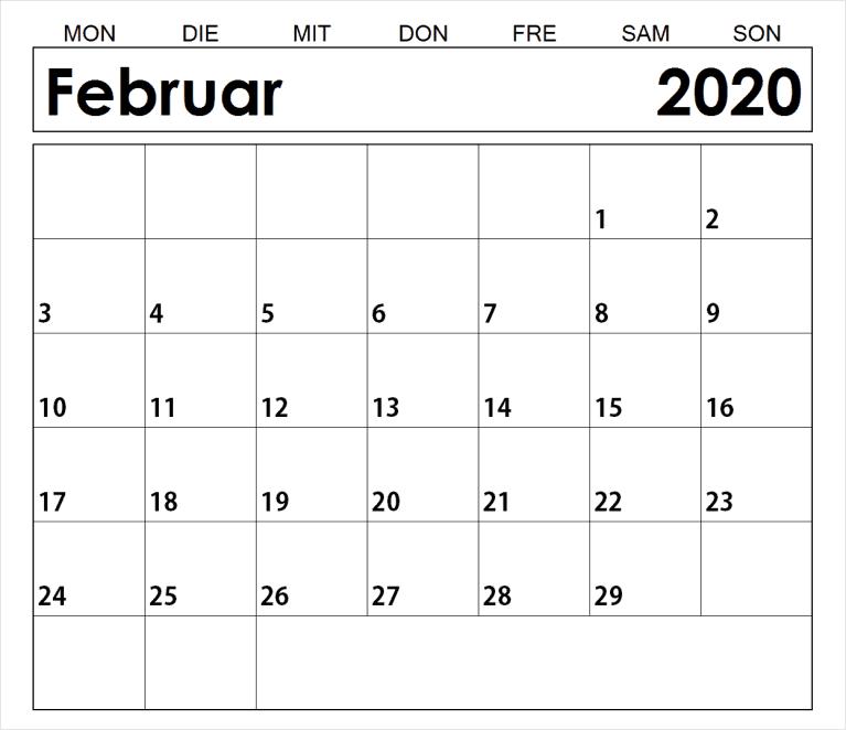 2020 Februar Kalender
