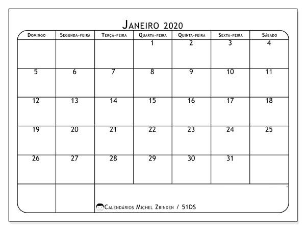 Calendário 2020 Janeiro mes
