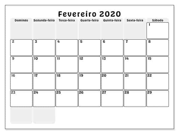 Calendário Fevereiro 2019 Para Imprimir Gratuito