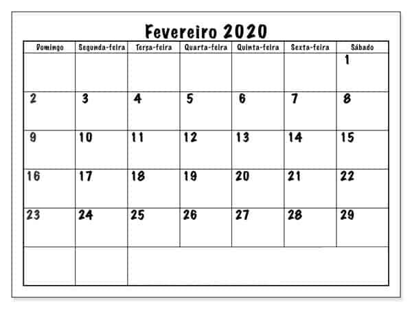 Calendário Fevereiro 2019 Para Imprimir Modelo