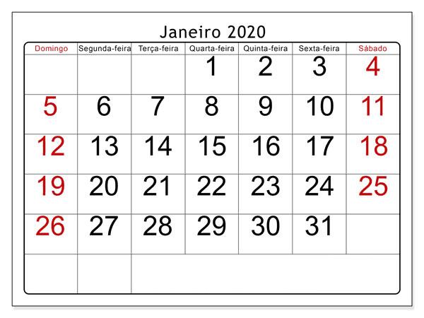 Calendário Janeiro 2019 Imprimir Mesa
