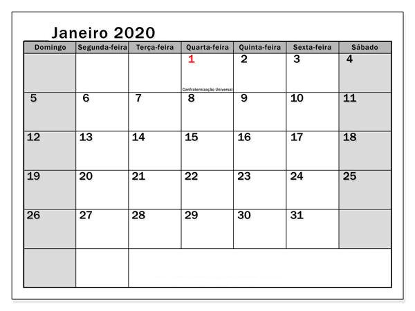 Calendário Janeiro 2019 Imprimir Modelo