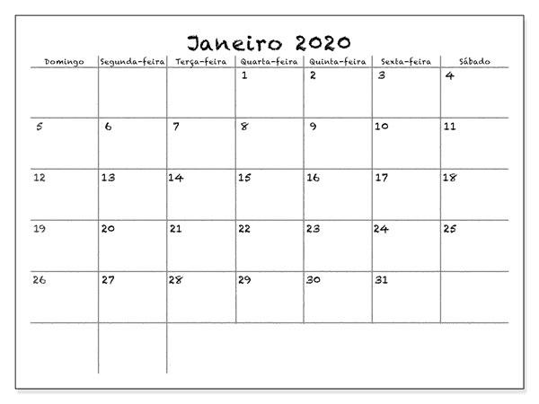 Calendário Janeiro 2019 Imprimir Notas