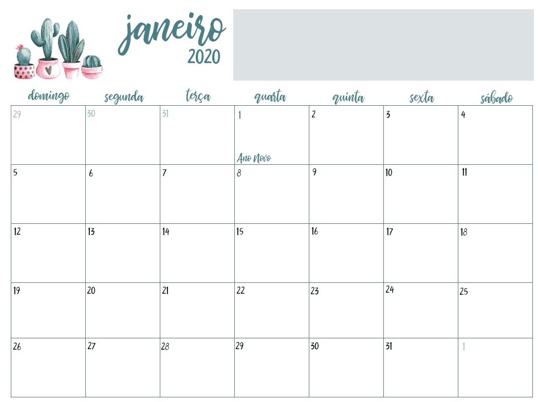 Calendário Janeiro 2020 Editavel