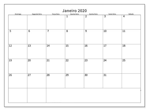 Calendário JaneiroImprimir 2020