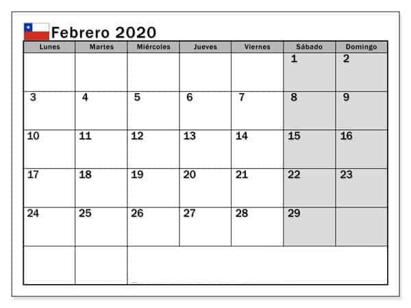Calendario Febrero 2020 Chile Diseno