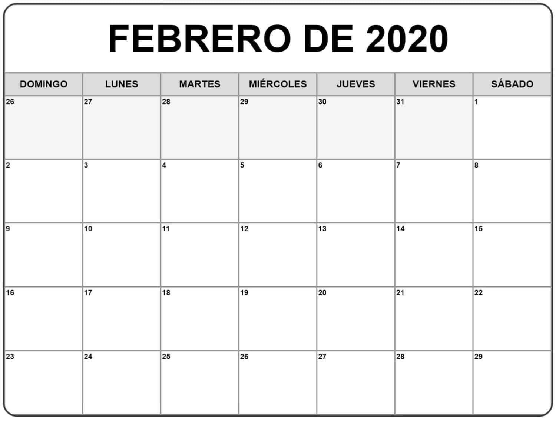 Calendario Febrero 2020 Chile