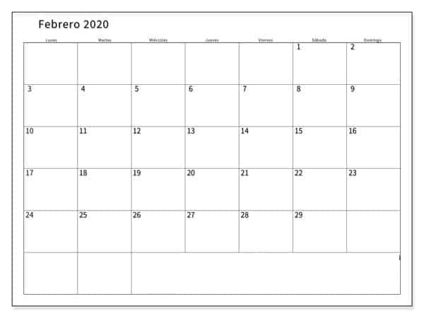 Calendario Febrero 2020 PDF