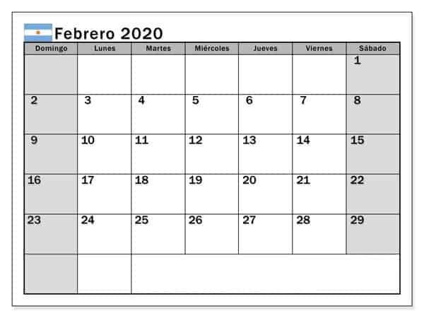 Calendario Febrero 2020 Para Imprimir Argentina