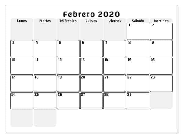 Calendario Febrero 2020 Para Imprimir Mensual