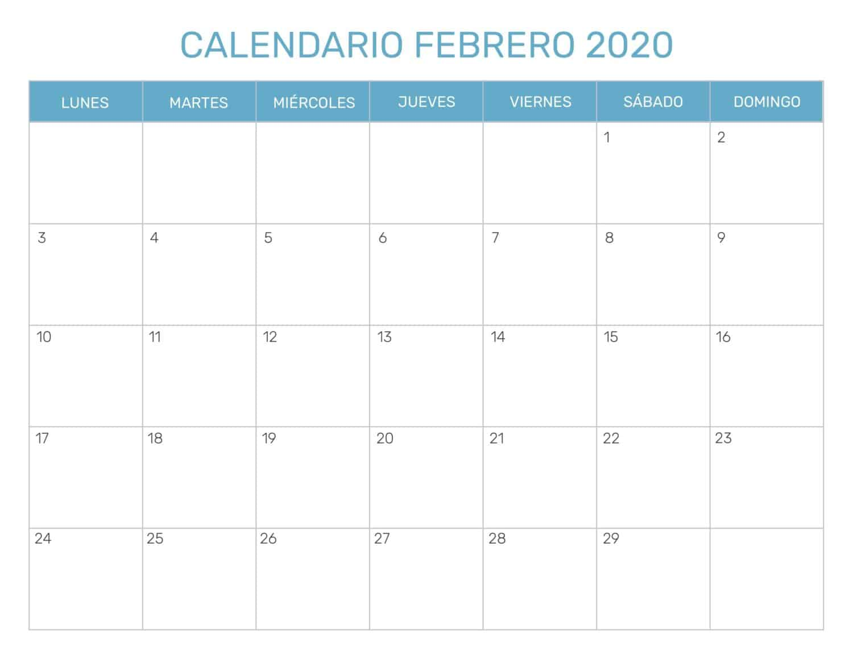 Calendario-Febrero-2020-Para-Imprimir