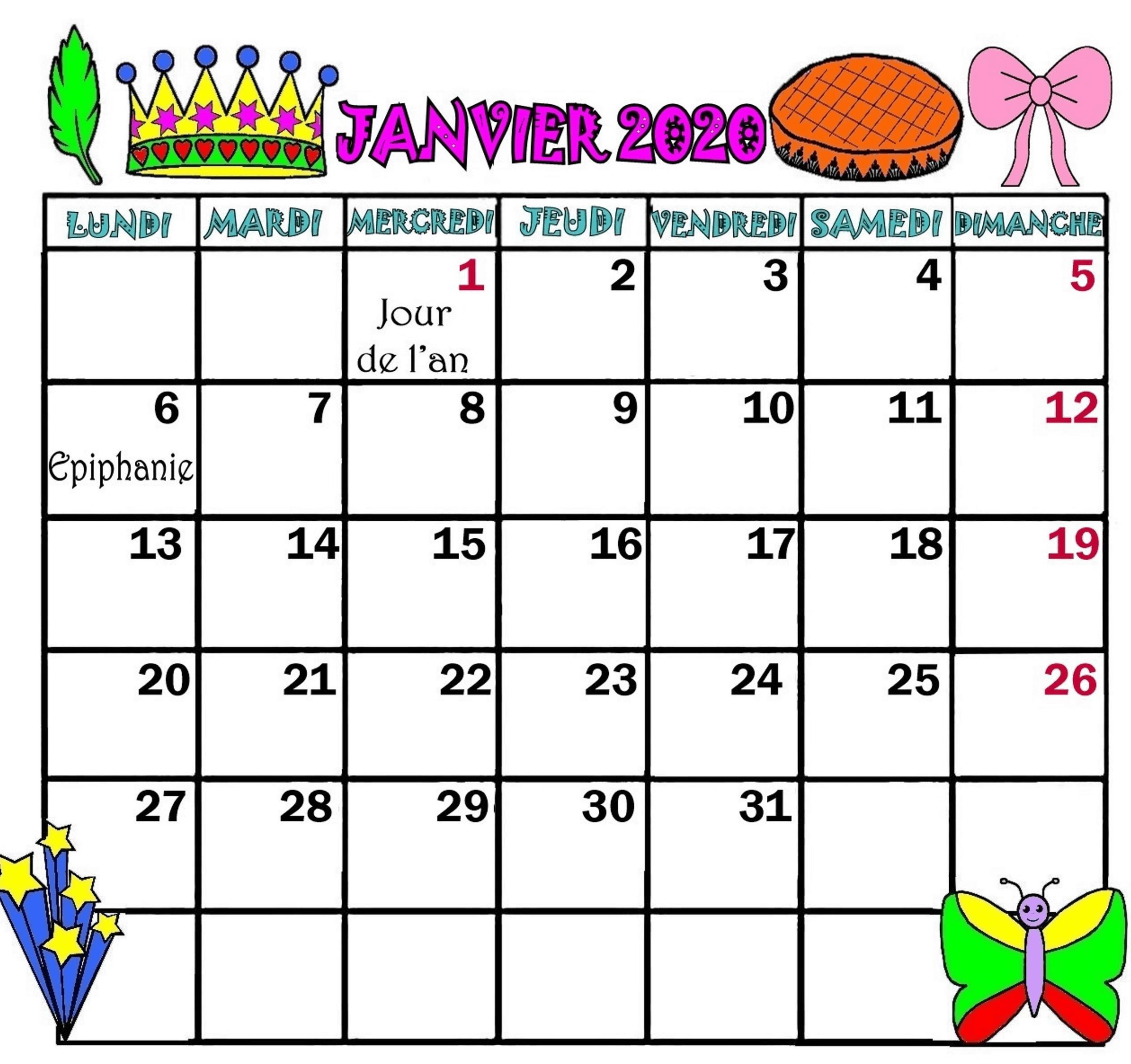 Calendrier 2019 Janvier Gratuit