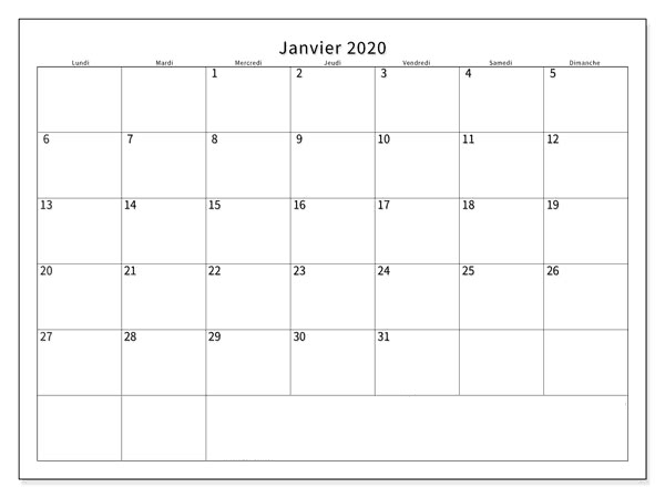 Calendrier 2020 Janvier Notes