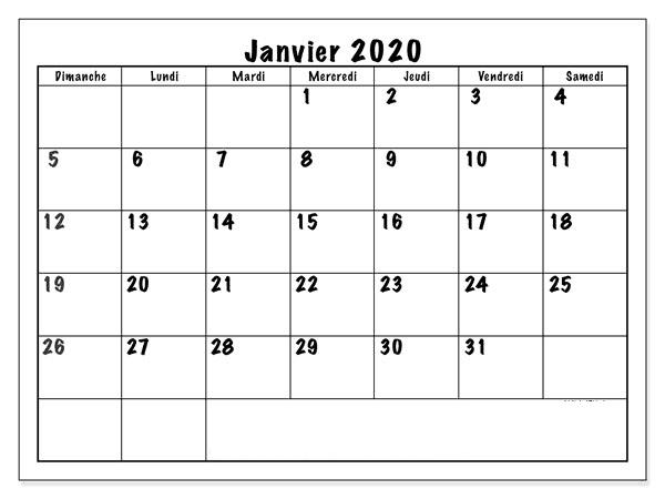 Calendrier 2020 Janvier PDF