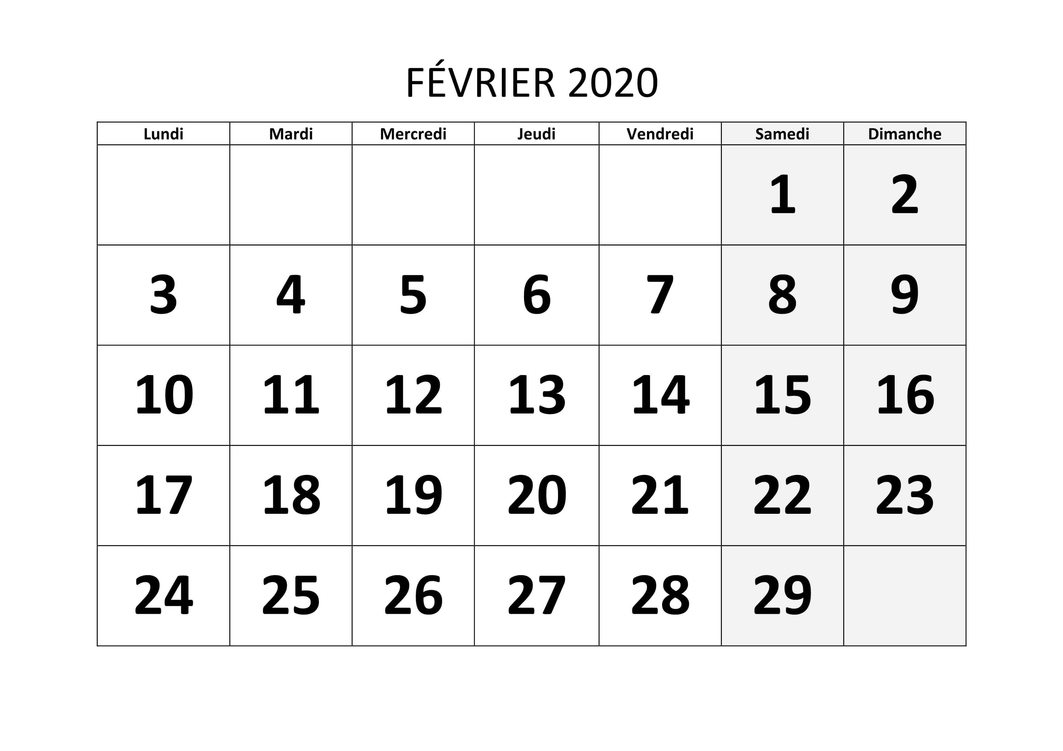 Calendrier Février 2019 À Imprimer Modele