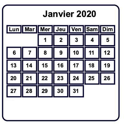 Calendrier Janvier 2019 À Imprimer Modèle