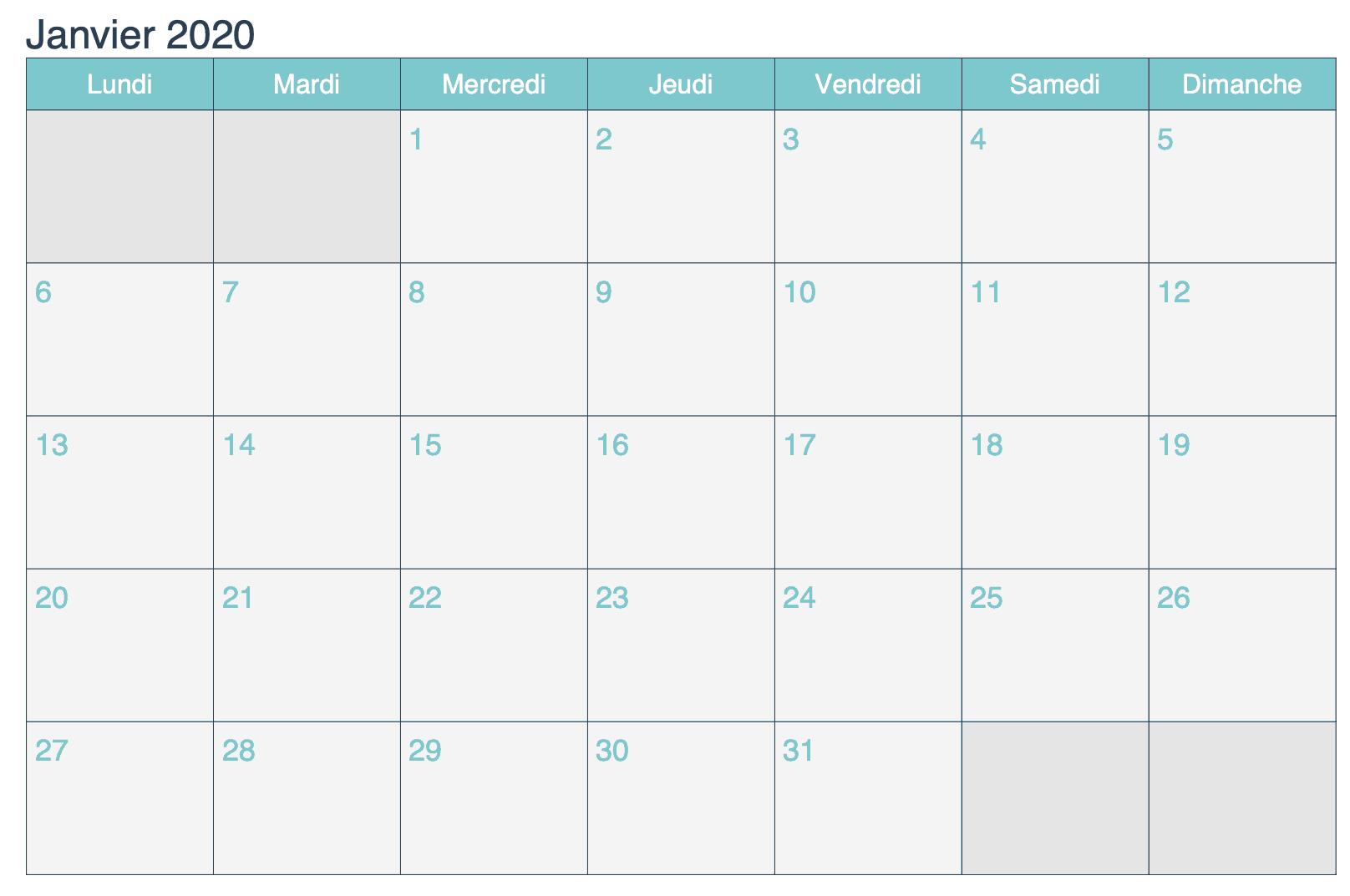 Calendrier Janvier 2019 À Imprimer Turquoise