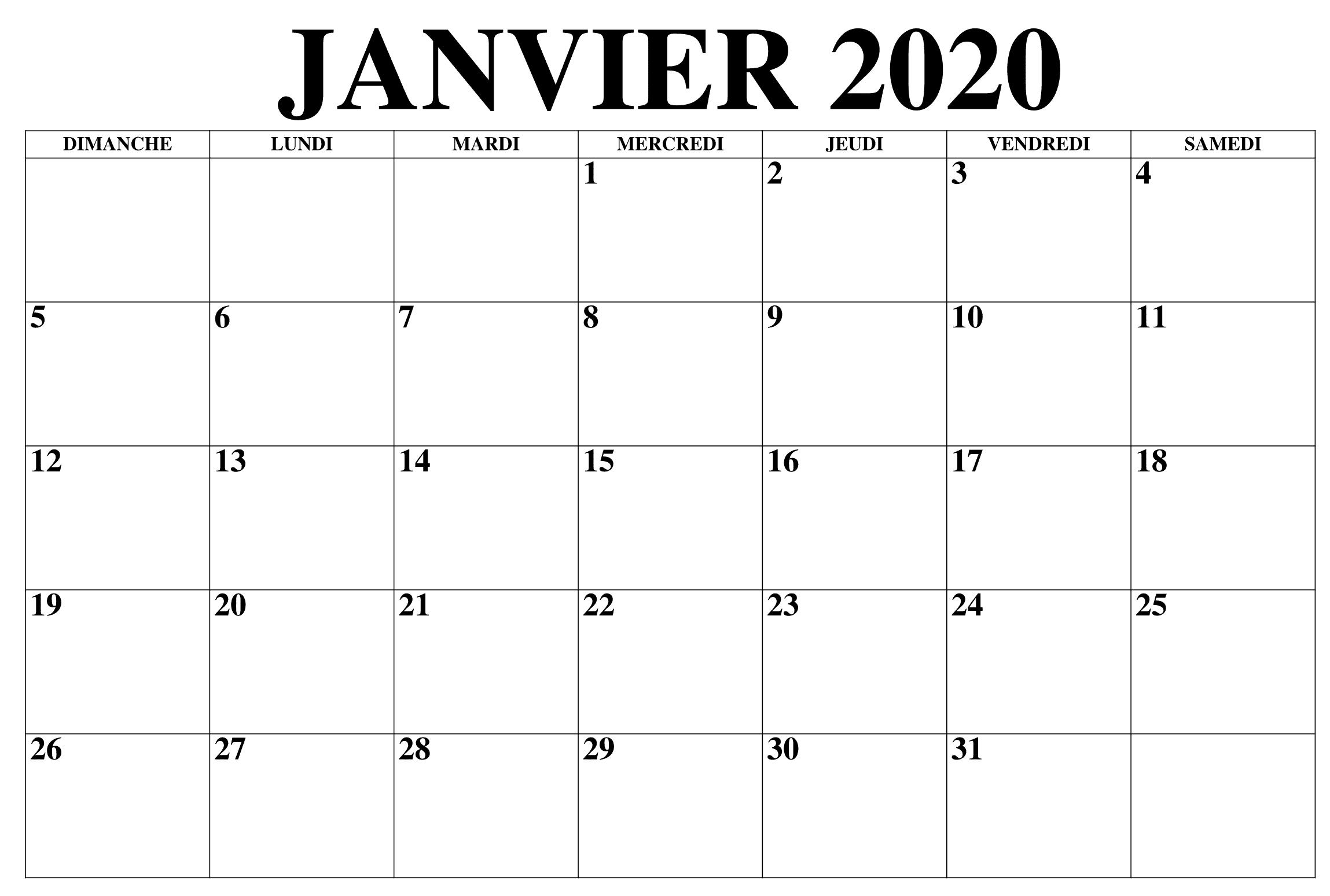 Calendrier Janvier 2019 À Imprimer
