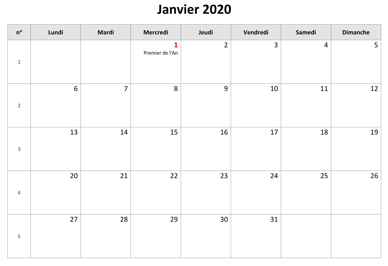 Calendrier Janvier 2019 À Imprimer modele