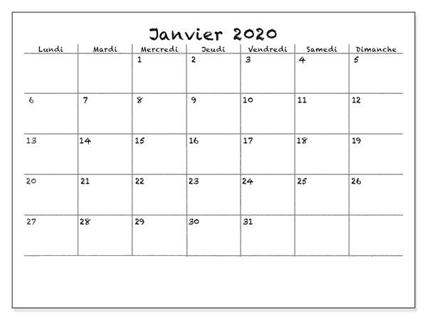 Calendrier Janvier 2019 À Imprimer notes