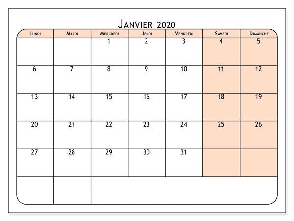 Calendrier Janvier 2020 À Imprimer Pdf,Word
