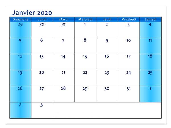 Calendrier Janvier 2020 À Imprimer Vacances