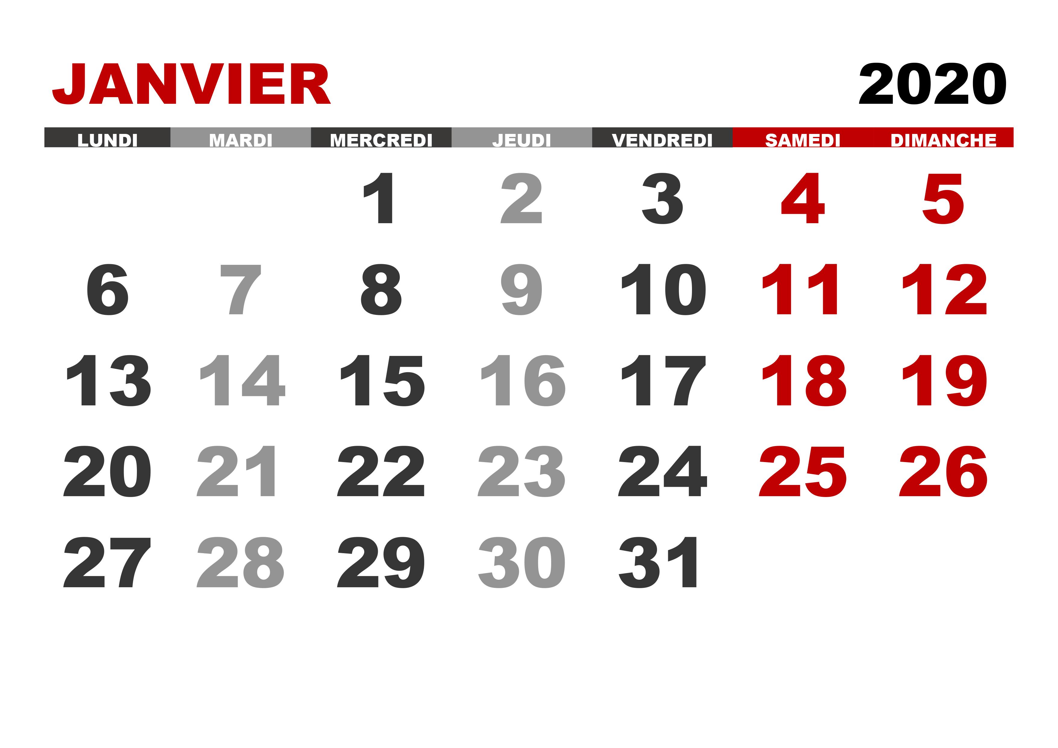 Calendrier Janvier 2020.Calendrier Janvier 2020 Pdf Imprimable Nosovia Com