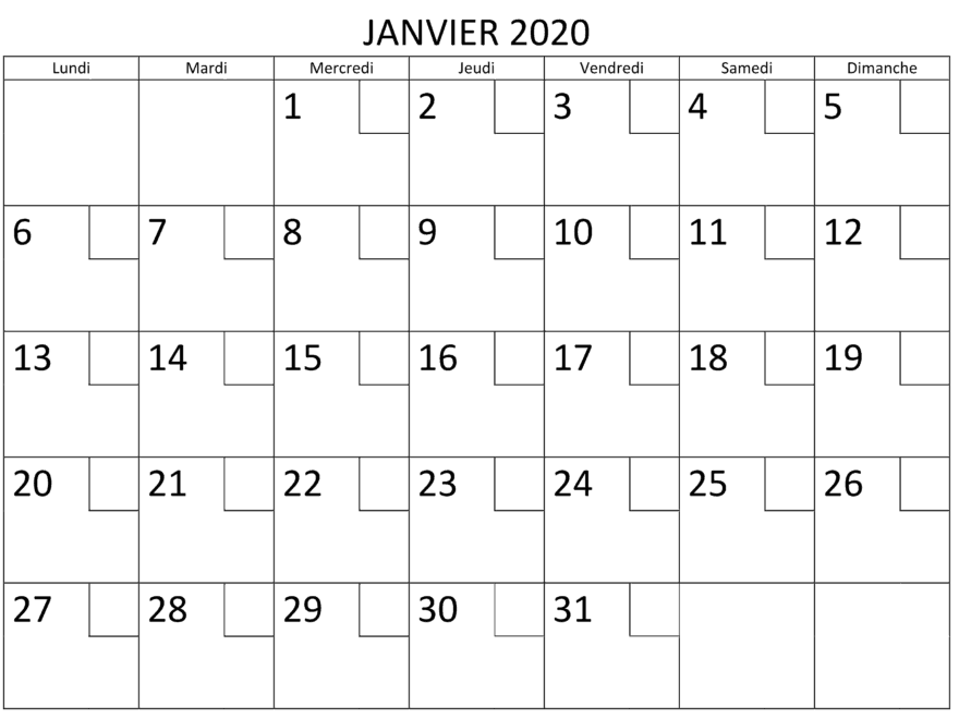 Calendrier Janvier 2020 PDF Word