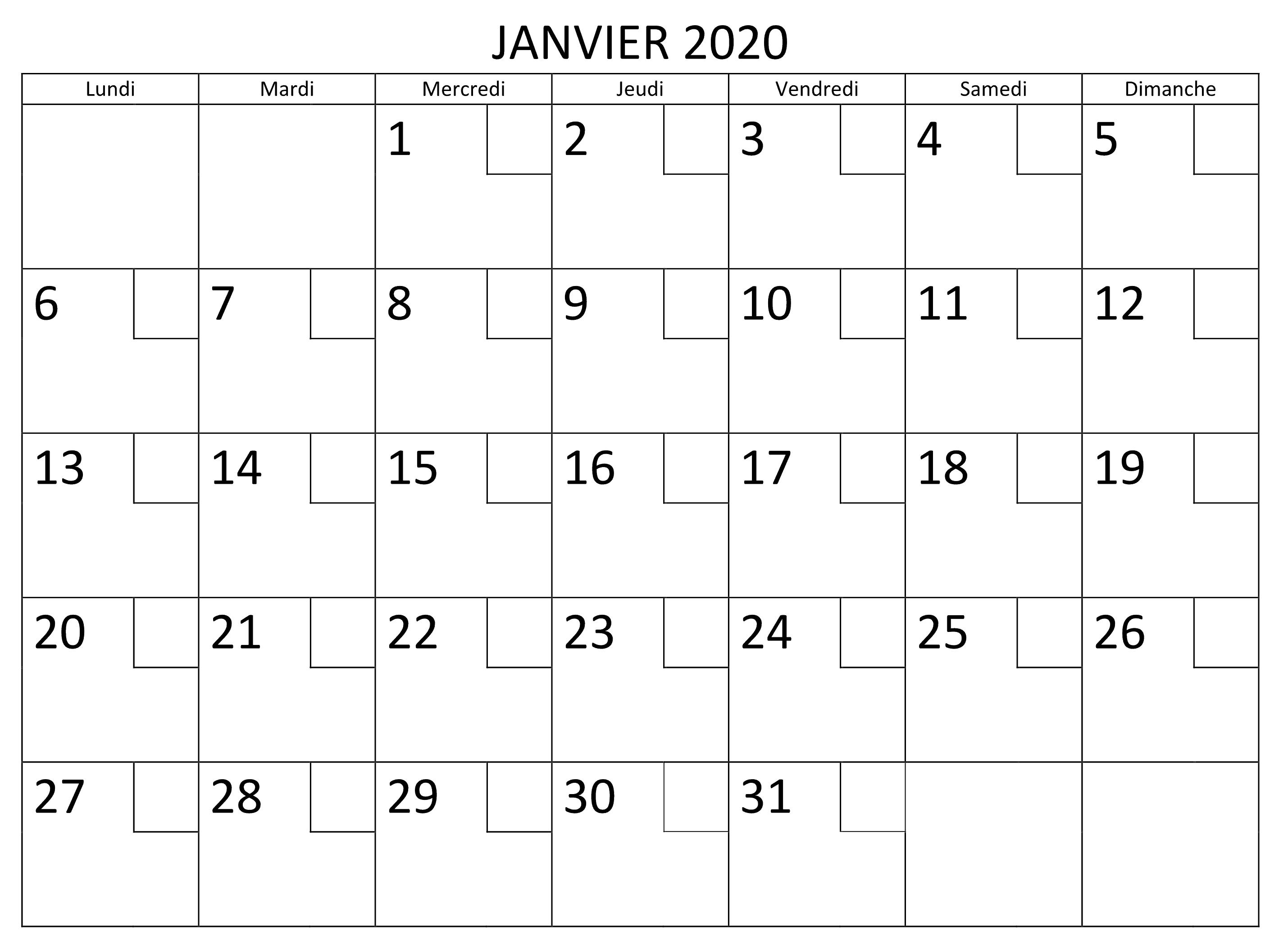 Calendrier Janvier 2020 PDF Word