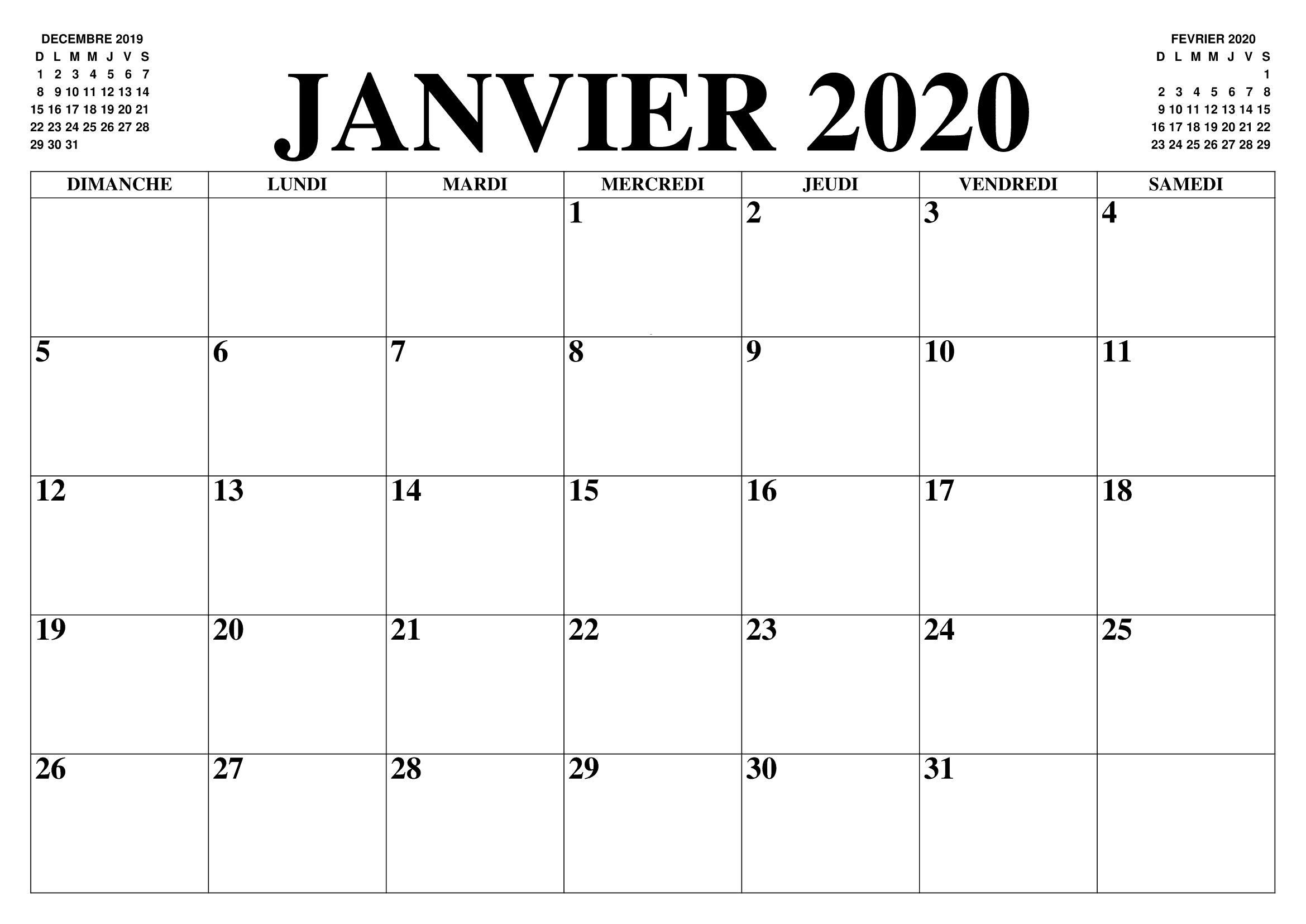 Calendrier Janvier 2020 PDF