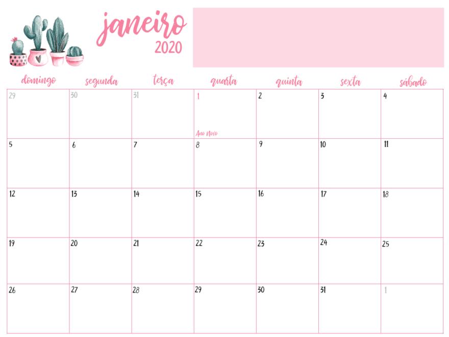 Editavel Calendário Janeiro 2020