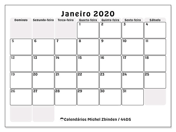 Feriados Calendário Janeiro 2020