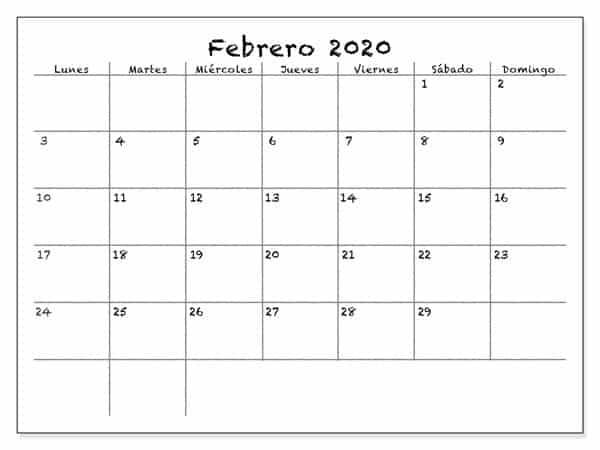 Gratis Calendario Febrero 2020 Para Imprimir