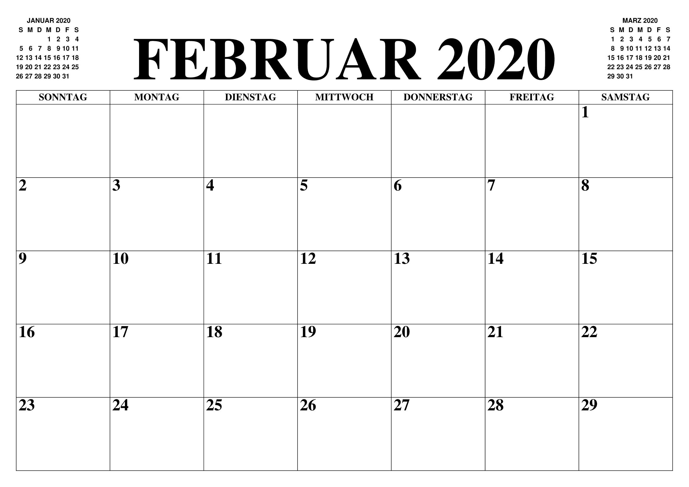 Kalender 2019 Februar Word