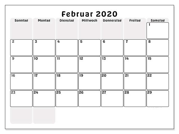 Kalender 2020 Februar Frei