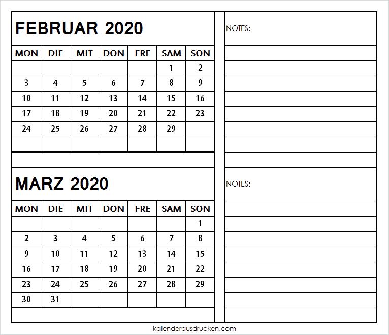 Kalender 2020 Februar Marz zum Ausdrucken