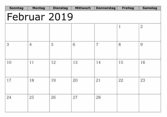 Kalender Anpassen Februar 2019 Mit Feiertagen