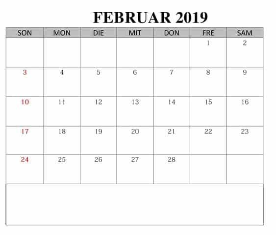 Kalender Bild Februar 2019 Mit Feiertagen